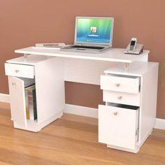 white modern straight computer writing desk with locking file drawer