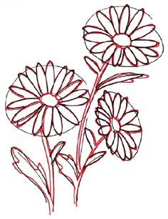 When drawing a daisy, draw the centers so the ovals are bumpy and complete the stems.