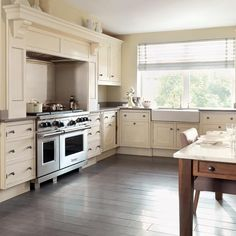Captivating L Shaped Kitchen Layout Ideas In Original Hand Painted L Shaped Kitchen With Wood Flooring Design
