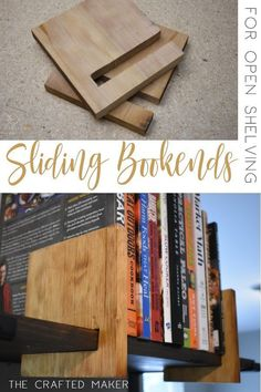 This Scrappy Saturday project is sliding bookends for open shelving. These sliding bookends are a great addition to any room with open shelving. This is a fun and quick project to complete! diy holz Sliding Bookends for Open Shelving - The Crafted Maker Diy Wood Projects, Furniture Projects, Home Projects, Wood Crafts, Wooden Furniture, Diy Furniture Plans, Beginner Wood Projects, Project Projects, Diy Crafts