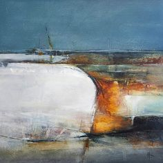 Artwork. 'Pwynt Friars'. Abstract Landscape Oil Painting on Board. 61cms x 61cms. This work is based on the view across Whitmore bay in S Wales. Looking West towards Friars Point.