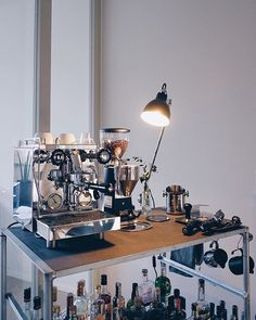 Home bar setup by - Rocket Espresso Coffe Machine, Home Coffee Machines, Machine Expresso, Best Espresso Machine, Cappuccino Machine, Cappuccino Coffee, Iced Coffee, Home Bar Setup, Nitro Coffee
