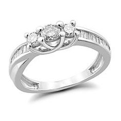 10K White Gold 1/2 cttw Diamond Round 3-Stone & Baguette Crossover Channel-set Side Ring