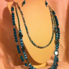 Blue three strand necklace