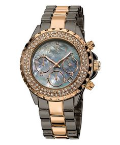 Loving this Two-Tone & Mother-Of-Pearl Chronograph Watch on #zulily! #zulilyfinds