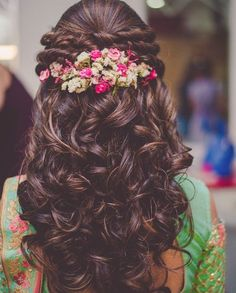 Indian Bridal Wedding Hairstyles for Short to Long Hair - Hair Styles - Best Hair Styles Bridal Hairstyles With Braids, Engagement Hairstyles, Open Hairstyles, Bridal Hairdo, Wedding Hairstyles For Long Hair, Indian Hairstyles, Bride Hairstyles, Hair Wedding, Hairstyle Ideas