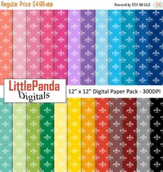 60% OFF SALE Fleur de Lis digital paper scrapbook papers