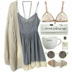 Image de grey dress, ivory cardigan, and circle sunglasses