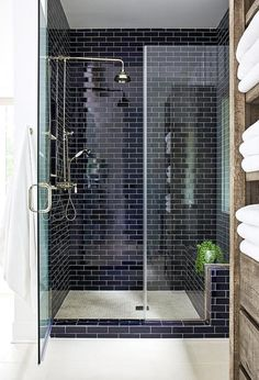 Glass Shower Partition with Navy Blue Brick Tiles - Transitional - Bathroom Navy Blue Bathrooms, Navy Bathroom, Bathroom Interior, Small Bathroom, Bathroom Tubs, Rental Bathroom, Bathroom Canvas, Dyi Bathroom, Bathroom Showers