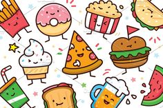 Ad: Food Doodle Toolkit by Manudesign on 12 Cute and Sweet Characters in Vector Ai and + transparent PNGs (isolated objects) --- well layered, simple to edit, CMYK ready for Cute Food Drawings, Kawaii Drawings, Easy Drawings, Cute Doodle Art, Cute Doodles, Food Cartoon, Cute Cartoon, Cute Pizza, Food Doodles