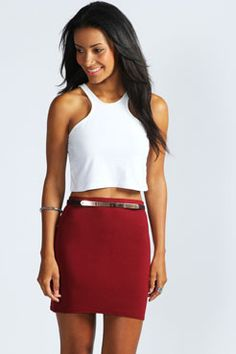 Mary Jersey Mini Skirt at boohoo.com $56 Berry Black Blue Grape