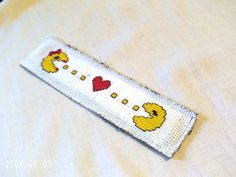 Atari Pac Man Love Book Mark Cross by SnarkyLittleStitcher on Etsy, $8.00