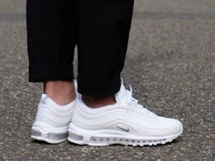 This Nike Air Max 97 features an all-White upper paired with Wolf Grey on the Nike Swoosh logos. Minor hits of Black on the outsole and Reflective trimming completes the design. Air Max 97, Nike Air Max, Air Max Sneakers, Sneakers Nike, Baby Dress Design, Hype Shoes, Fresh Shoes, Teenage Girl Outfits, Shoe Game