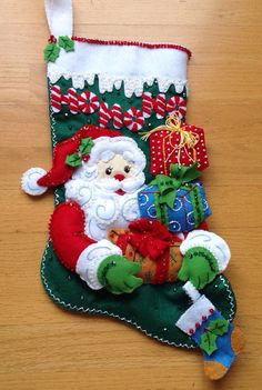 Bucilla Santa's Gift lined stocking Czech by CHRISTMASCOLLECTIONS, $100.00