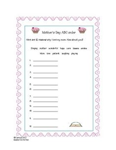 Weekly Freebie: FREE Mother's Day Resource  Free from gr8teacher on TpT    Mother's day ABC order