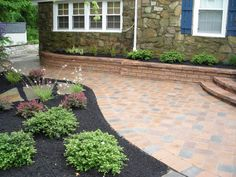 Front Paver Entrance Side View of Retaining Wall and Pavers Bookmark ...