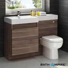 Modern Walnut Bathroom Vanity Unit Countertop Basin Back To Wall Toilet