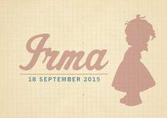 Vintage geboortekaartje meisje silhouet door HierBenIk.be| origineel | retro | vintage | babykaartje