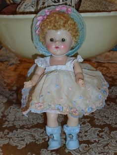 Vogue GINNY Doll Cute Caracul Wig 1952 BECKY Dress Tagged Straw Hat Shoes  SWEET