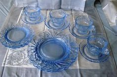 Cambridge Caprice 16 Pcs Four Luncheon Place Settings Moonlight Blue | eBay