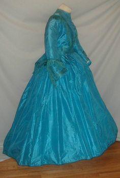 Majestic 1860's Vivid Blue Silk Dress | eBay