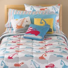 Construction Zone Bedding by Land of Nod goes well with Caramel Expressions excavator transportation artwork https://www.etsy.com/listing/99868743/