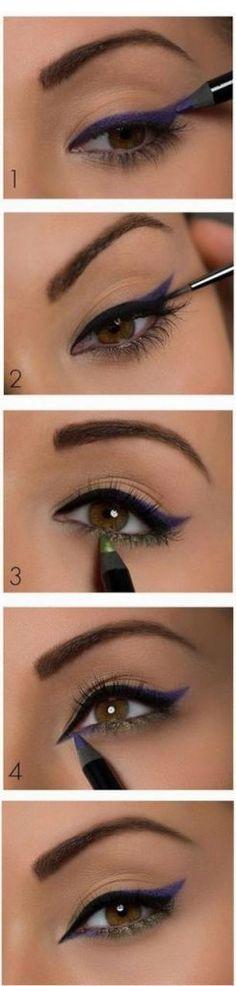 Colourful eyeliner make-up look tutorial. Observe this along with your favourite make-up merchandise. - Get your favourite make-up on the lowest costs at www. Makeup Goals, Love Makeup, Makeup Inspo, Makeup Hacks, Makeup Inspiration, Makeup Ideas, Simple Makeup, Green Makeup, Black Makeup