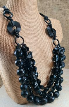BLACK Statement Necklace 5 strands of mixed black by MMDJewellery Black Onyx Ring, Black Rings, Off Black, Back To Black, Black Agate, Black Silver, Stackable Bracelets, Black Necklace, Stone Beads