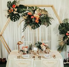Bride and Groom seating Tiki Wedding, Copper Wedding, Hawaii Wedding, Floral Wedding, Wedding Colors, Wedding Flowers, Reception Backdrop, Wedding Ceremony Arch, Wedding Seating
