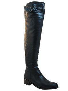 Women's Davinci Over The Knee Italian Leather boots Imolia Black * Learn more by visiting the image link.