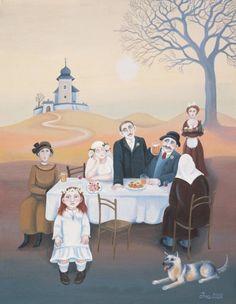 Iva Hüttnerová: Obrázky Socialist Realism, Stage Decorations, Naive Art, Central Europe, People Art, Art Pictures, Folk Art, Culture, Illustration