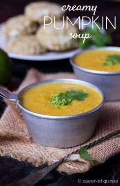 A silky, smooth & creamy mexican pumpkin soup, with a secret ingredient....quinoa! Quinoa acts as a thickener and makes this soup incredibly luscious. For the full recipe, click here --> http://www.simplyquinoa.com