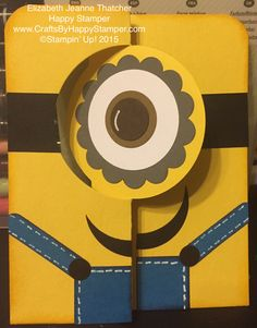 Minion flip card created with the Stampin Up circle flip die thinlit and punches. From despicable me move.