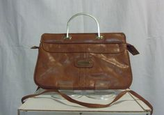 Vintage Brown Leather Square double gold handled bag with optional cross body strap-circa 1970's by CurvyGirlCrafting78 on Etsy