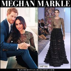 Meghan Markle in black embroidered gown on her engagement photos