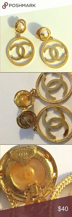 Chanel hoop earrings Gold vintage Chanel costume jewelry earrings / clip on / faux pearl encapsulated in iconic emblem Jewelry Earrings