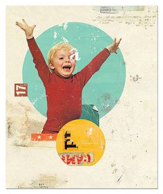 Again love the mix of vintage graphics and photo of the boy