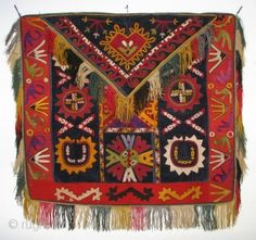 GM-5 Central Asian Lakai Uzbek Embroidery, Silk/Cotton/Wool, 25 x 23 inches,  Late 19th/Early 20th Century,  Few holes and one minor run (shown),  Put on a happy face!