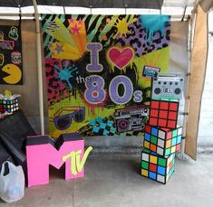 All props made using Dollar Tree products and cardboard boxes. Used poster board and electrical tape for the cubes. Also used duct tape for the boom box. Party Fiesta, Festa Party, 80s Birthday Parties, 30th Birthday, Decade Party, Retro Party, Diy 90s Party, 1980s Party Ideas, Dance Themes