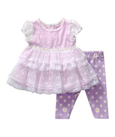 Loving this Youngland Purple Cap-Sleeve Dress & Leggings - Infant on #zulily! #zulilyfinds