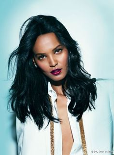 Liya Kebede with plum lips.
