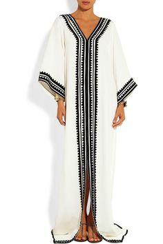 Off-white silk Black appliqué, slit front Slips on silk Dry clean Arab Fashion, Islamic Fashion, Muslim Fashion, Modest Fashion, African Fashion, Boho Fashion, Fashion Dresses, Womens Fashion, Gothic Fashion