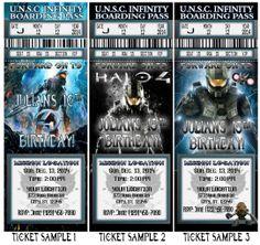 Halo 3 wars master chief birthday party invitations vip passes party halo 4 birthday party ticket invitations vip passes and favors uprint available stopboris Images