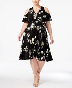 79.00$  Buy now - http://vitdg.justgood.pw/vig/item.php?t=i8vtk9824193 - Trendy Plus Size Floral-Print Cold-Shoulder Dress 79.00$