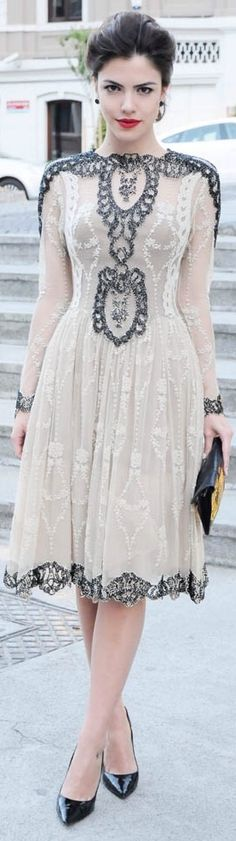 Women's fashion | Jeweled lace dress.