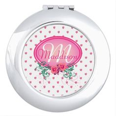 http://www.zazzle.com/pink_frame_monogram_rose_mirror_for_makeup-256492242026217746?rf=238523064604734277 Pink Frame Monogram Rose Mirror For Makeup - This compact mirror has lots of pink roses all over. It has a pink monogram frame with roses and green foliage in which to place your name and initial. This would make a nice, personal Christmas or birthday gift for your wife, daughter or mother.