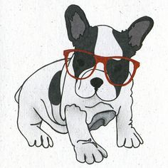 French Bulldog Puppy in Red Hipster Glasses, illustration on Etsy.
