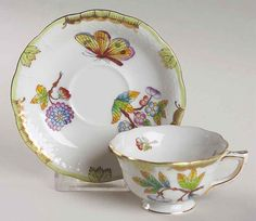 Herend QUEEN VICTORIA (GREEN BORDER) 735 Demitasse Cup & Saucer 1821258 ie.picclick.com
