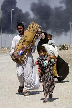 피난 중인 쿠르드 난민 일가족