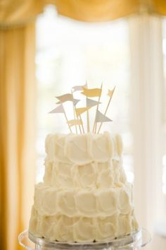 Cute little cake flags! Cake by Pastry Art Bake Shoppe via Elizabeth Anne Designs. #ThePerfectPalette